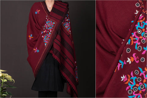 Kutchhi Pacco Mirror Work Hand Embroidered Woolen Shawl
