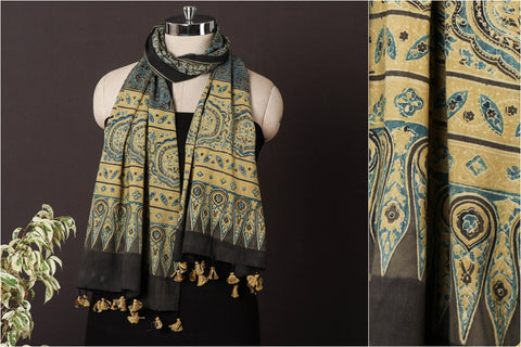 Sufiyan Khatri Special Pure Cotton Ajrakh Block Print Natural Dyed Stole with Tassels