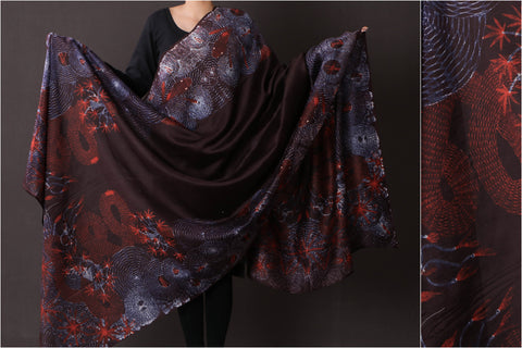 Special Cannabis Evolution Snake Chanderi Silk Stitch Resist Dye Red/Wine Dupatta