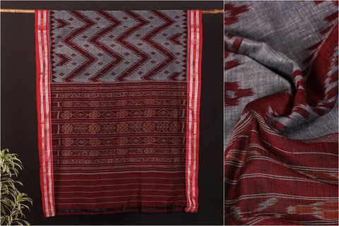 Handwoven Sambalpuri Ikat Cotton Saree from Odisha