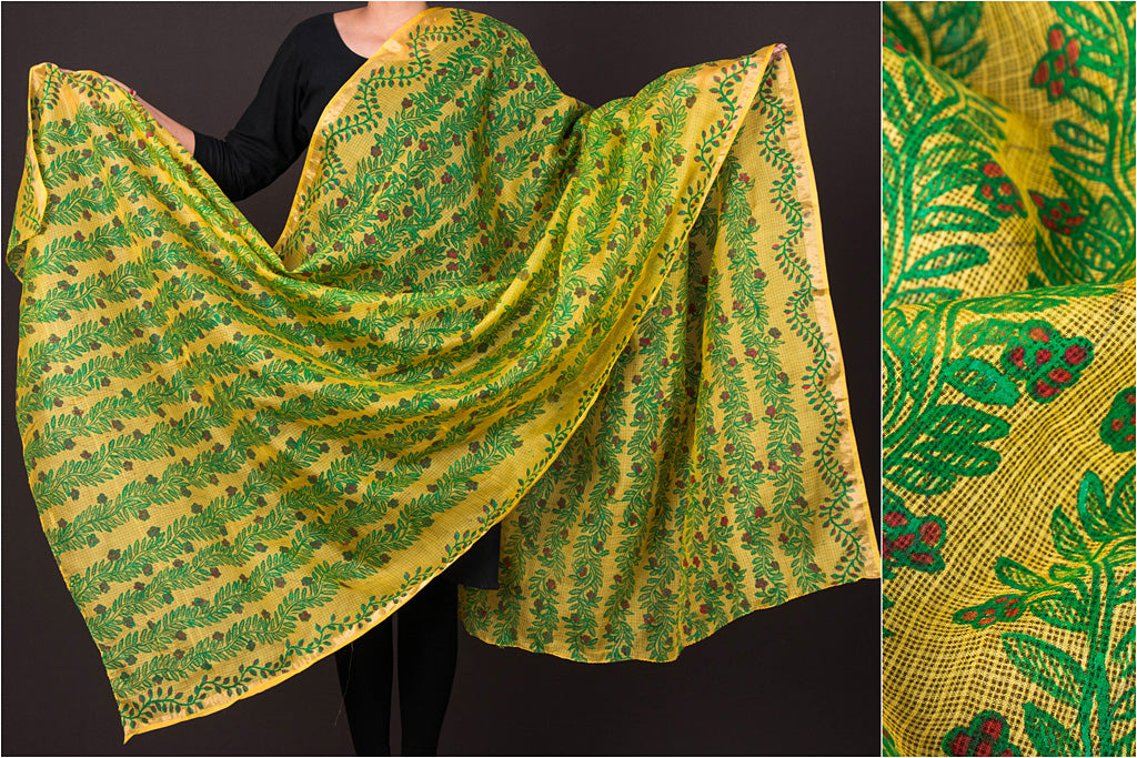 Traditional Madhubani Handpainted Pure Kota Silk Handloom Full Work Yellow/Multicolor Dupatta