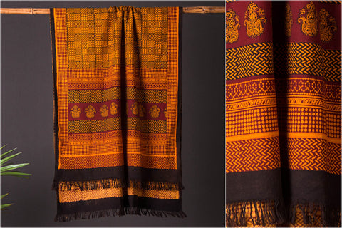 Bagh Print Natural Dyed Towel in Handloom Cotton Fabric from Jhiri