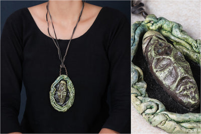 Handcrafted Papier Mache Mask Necklace