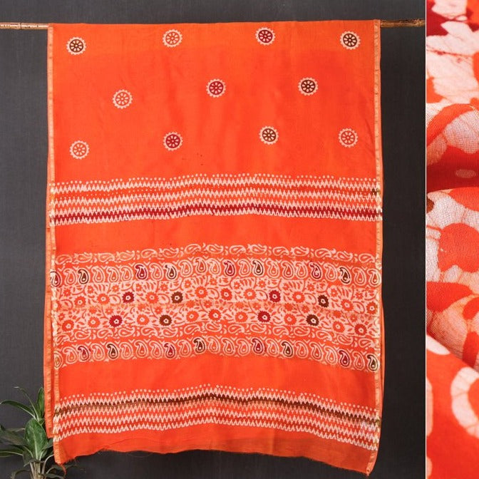 Hand Batik Print Chanderi Silk Saree with Zari Border