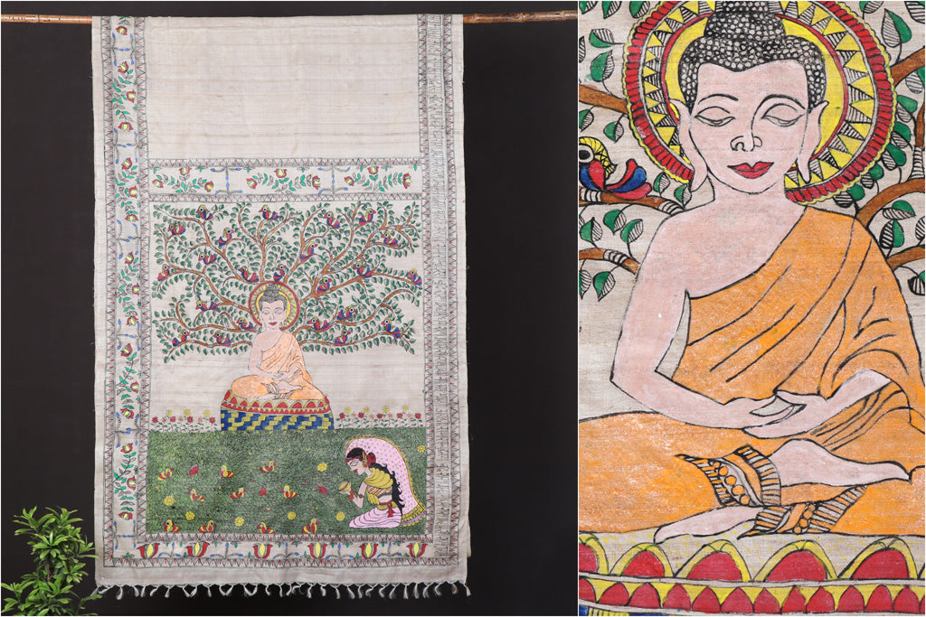 Traditional Madhubani Handpainted Pure Tussar Silk Handloom Saree