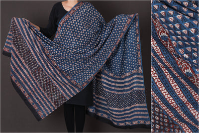 Bagru Dabu Block Printed Mul Cotton Dupatta