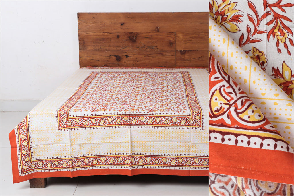 Sanganeri Hand Block Printed Cotton Single Bed Cover - 228 x 152 cm