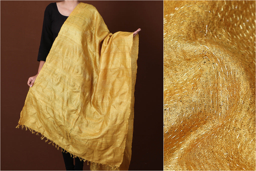 Yellow - Special Sujani Hand Embroidery Handloom Pure Tussar Silk Dupatta by Aunam