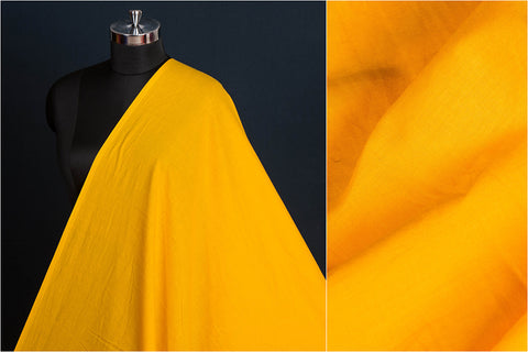 Yellow - Pre Washed Plain Pure Cotton Fabric (Width - 44in)