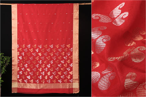 Traditional Chanderi Silk Zari Buti Jagla Pallu Handloom Saree by Rauph Khan