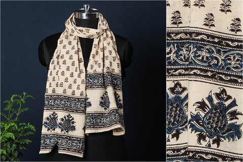 Original Pedana Kalamkari Block Printed Natural Dyed Cotton Stole