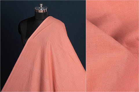 Salmon - Pre Washed Plain Pure Cotton Fabric (Width - 44in)
