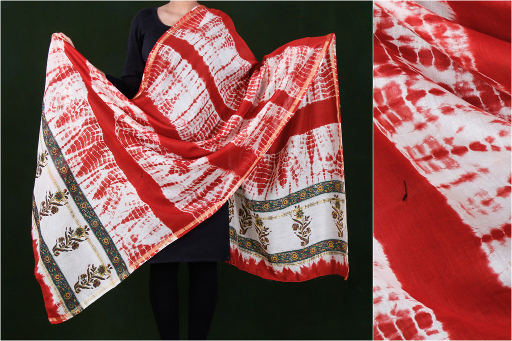 Shibori Tie-Dye Chanderi Silk Dupatta with Zari Border