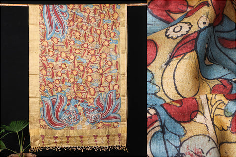 Handpainted Srikalahasti Kalamkari Pen Work Pure Tussar Silk Saree with Traditional Zari Woven Border