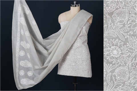 3pc Lucknow Chikankari Hand Embroidered Cotton Suit Material Set