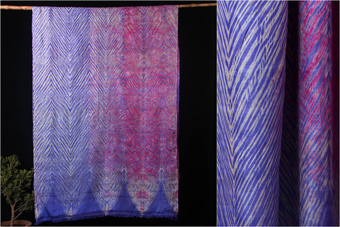 Original Leheria Tie-Dye Arashi Shibori Pure Tussar Silk Saree with Blouse