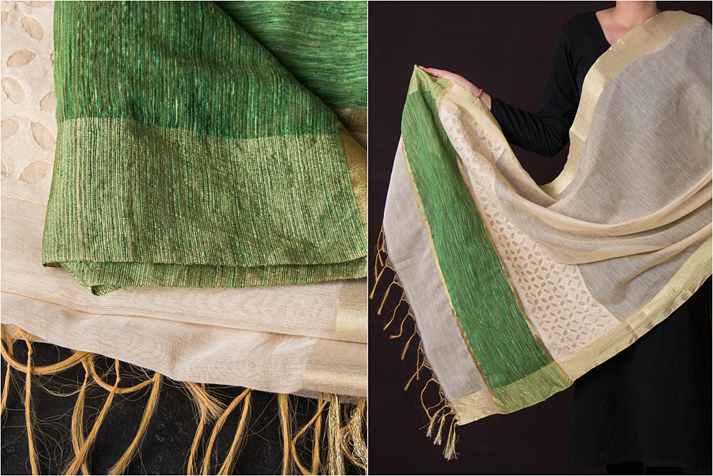Special Barmer Applique Work Chanderi Silk Dupatta with Ghicha Border