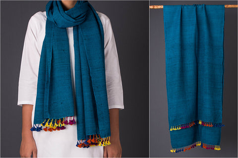 Pure Wool X Silk Multi Fuman Stole from Kutch