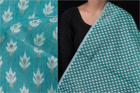 Traditional Pure Banarasi Silk Cotton Zari Buti Handloom Fabric
