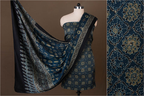 Special Ajrakh Block Print Modal Silk 2pc Suit Material by Sufiyan
