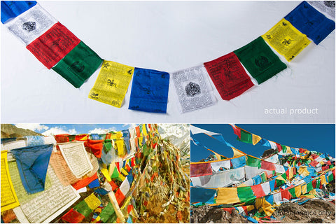 Tibetan Prayer Flag - Handmade in Himalayas - Lung Ta Wind Horse (Medium)