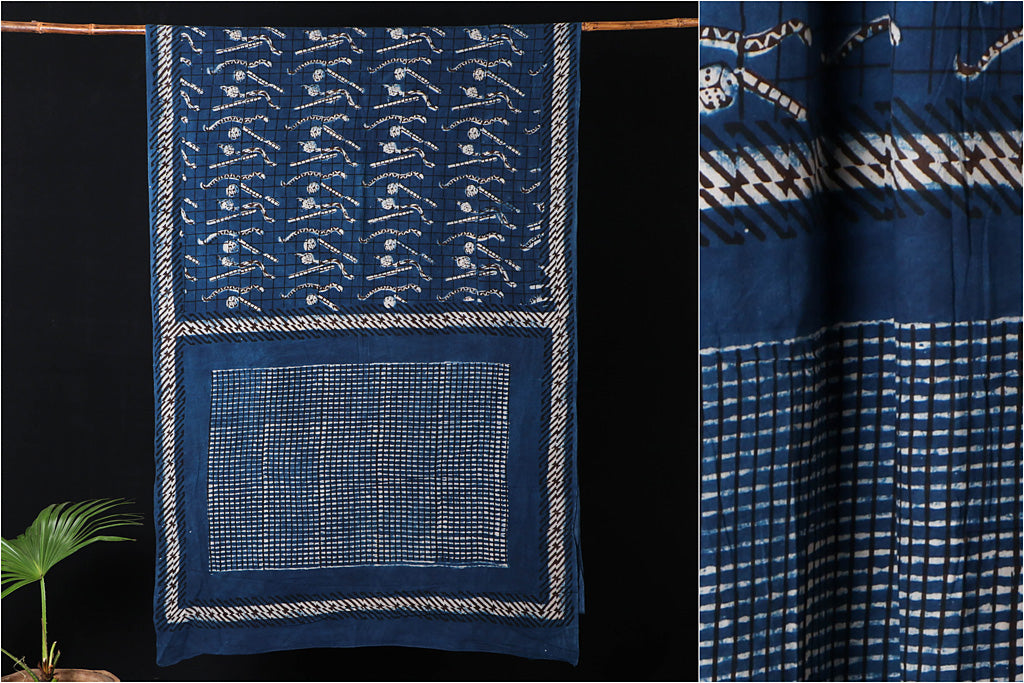 Bindaas Natural Dyed Art Block Print Cotton Saree