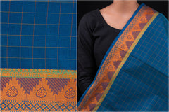 Kanchipuram Checks Cotton Fabric with Zari & Temple Border