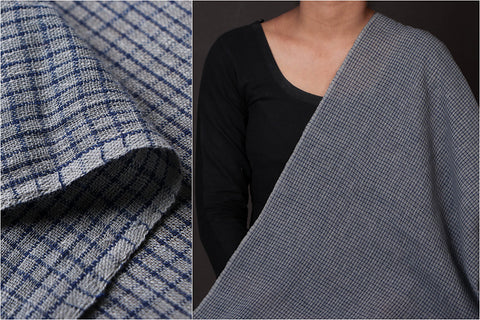 Organic Kala Cotton Gray Blue Checks Fabric (Width - 46in)