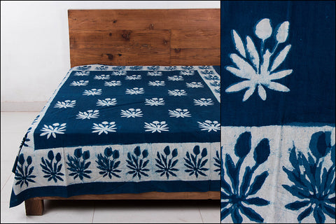 Block Art Prints Natural Dyed Cotton Single Bedcover by Bindaas Unlimited (88 x 62 inches)