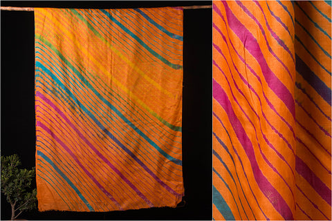 Original Leheria Tie-Dye Pure Tussar Silk Saree with Blouse
