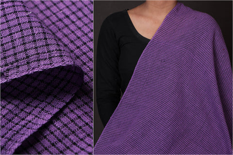 Organic Kala Cotton Purple Black Checks Fabric (Width - 45in)