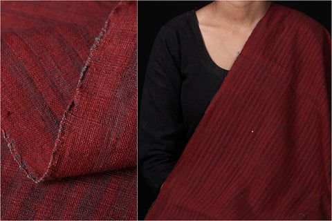 Malkha Cotton Pure Handloom Natural Dyed Fabric - Alizarin Red/Indigo Green