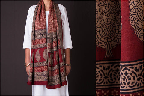 Bagh Block Print Natural Dyed Gajji Silk Stole by Bilal Khatri