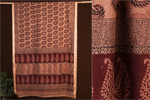 Special Bagh Block Print Natural Dyed Chanderi Silk Saree with Blouse