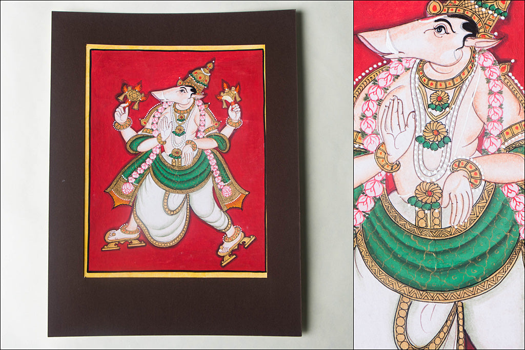 10in x 8in - Traditional Mysore Painting Varahavathara
