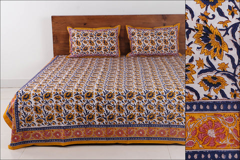Sanganeri Hand Block Printed Cotton Double Bed Cover with Pillow Covers (108 in x 90 in)