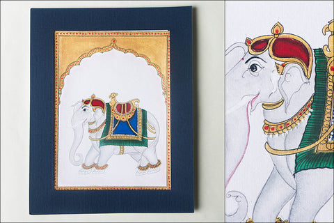 8.2in x 6.4in - Traditional Mysore Painting Palace Elephant