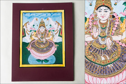 12.8in x 8in - Traditional Mysore Painting Gaja Lakshmi