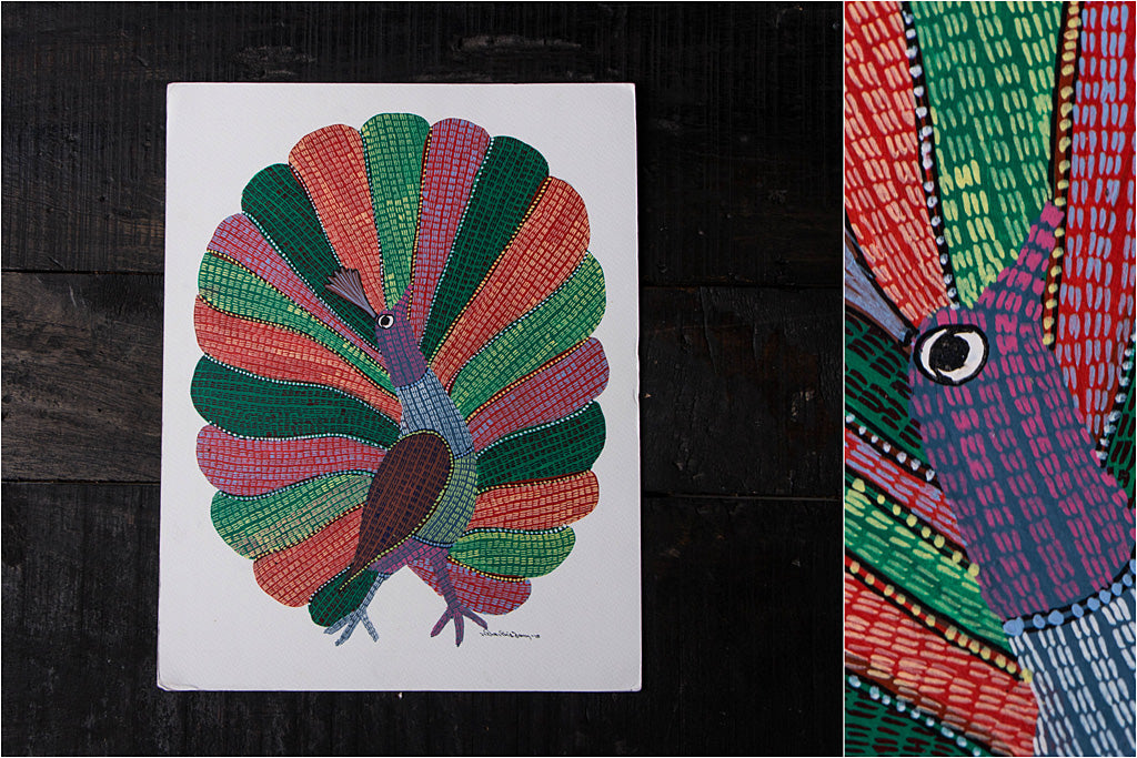 Gond Painting on Paper by Gariba Singh Tekam Original Artwork (14 x 11 inches)