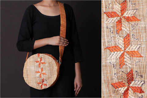 Hand Embroidery Round Sling Bag