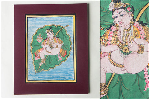 8in x 6in - Traditional Mysore Painting Krishna On Leaf