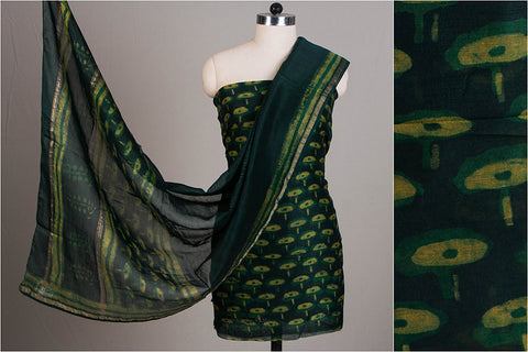 Special Akola Print Pure Handloom Chanderi Silk 3pc Dress Material Set with Zari