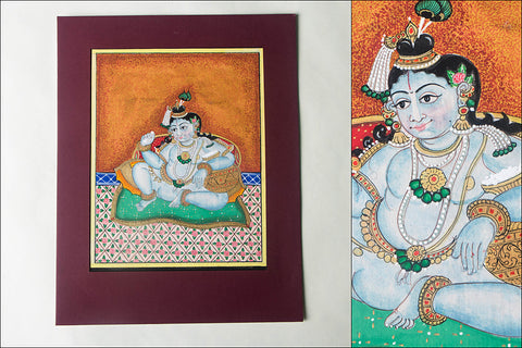 12.8in x 8in - Traditional Mysore Painting Krishna