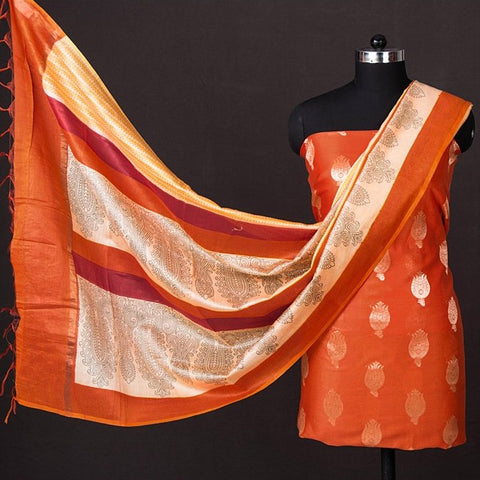 Block Printed Handloom Chanderi Silk 2pc Suit Material with Zari