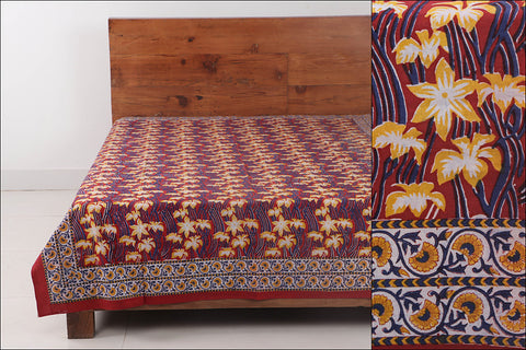 Sanganeri Hand Block Printed Cotton Single Bed Cover (90 in x 60 in)