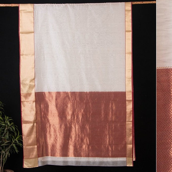 Traditional Chanderi Silk Zig Zag Zari Handloom Saree by Rauph Khan