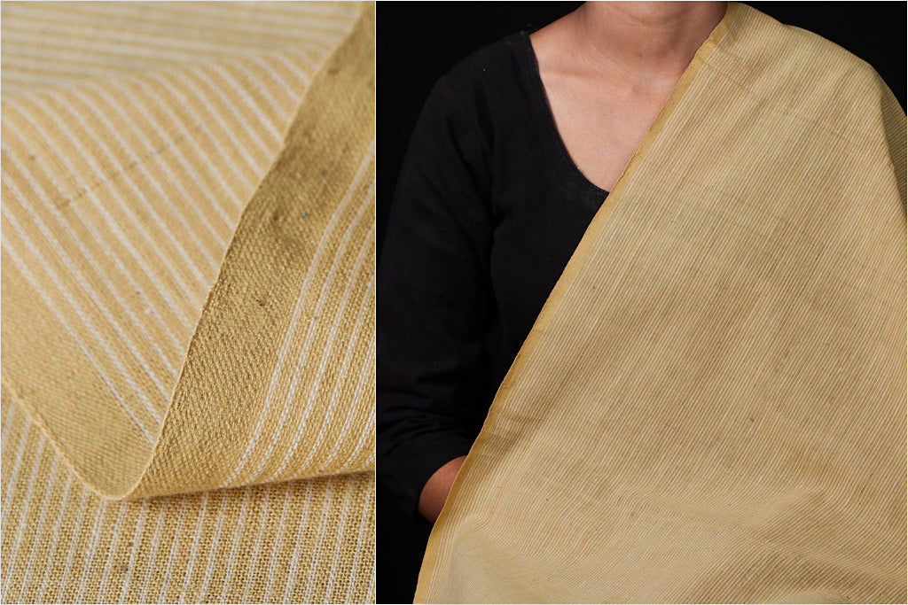 Malkha Cotton Pure Handloom Natural Dyed Fabric - Kora/Anar Yellow