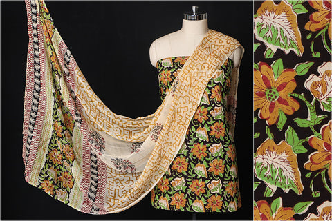 Sanganeri Hand Block Printed Cotton 3pc Suit Material Set with Chiffon Dupatta