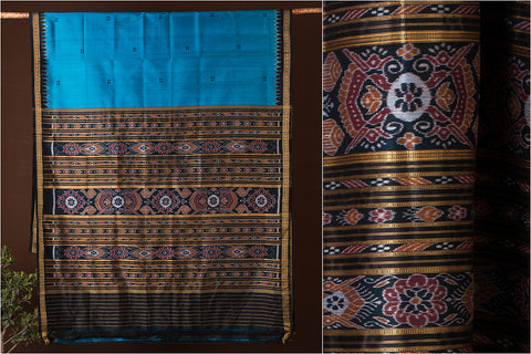 Handwoven Sambalpuri Ikat Silk Saree from Odisha