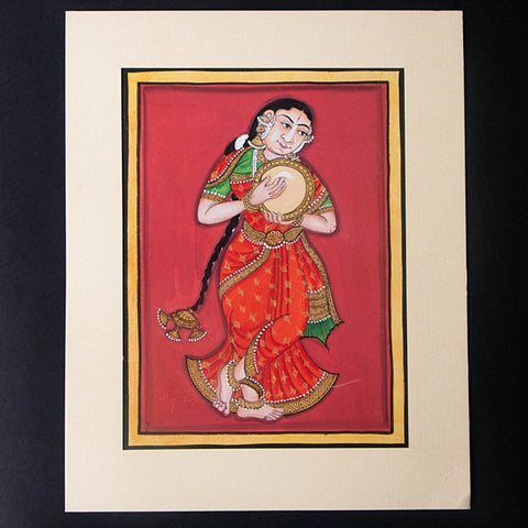 8in x 6in - Traditional Mysore Painting Musical Lady with Dafali
